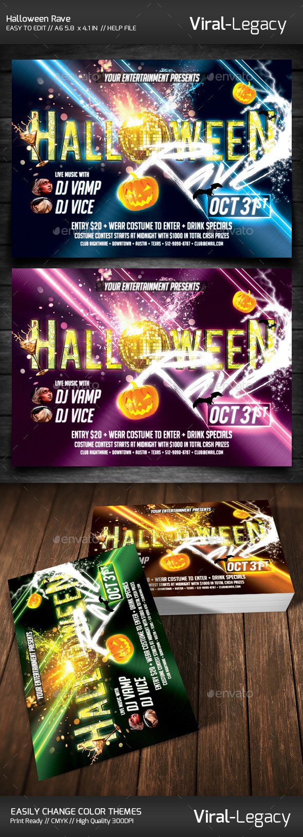 Halloween Rave  - Flyers Print Templates