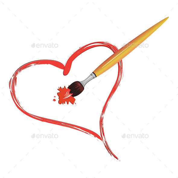 Brush Painting a Heart - Objects Vectors