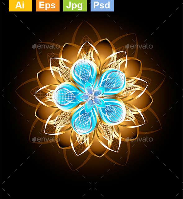 Abstract Turquoise Flower - Decorative Symbols Decorative