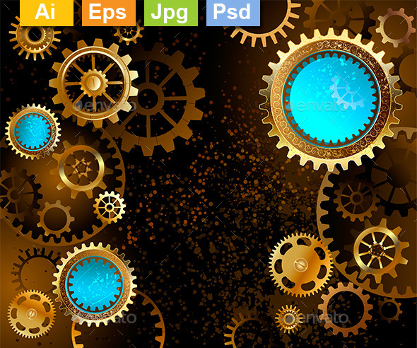 Dark Background with Gears - Backgrounds Decorative