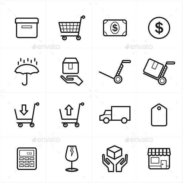 Flat Line Icons For Business Icons and Ecommerce - Business Icons