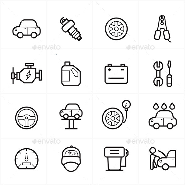 Flat Line Icons For Car Service Icons Vector Illustration - Objects Icons