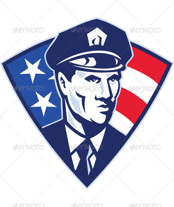 American Policeman Security Officer Shield - People Characters