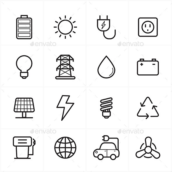 Flat Line Icons For Environment Icons and Ecology  - Icons