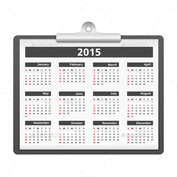 2015 Calendar - Objects Vectors