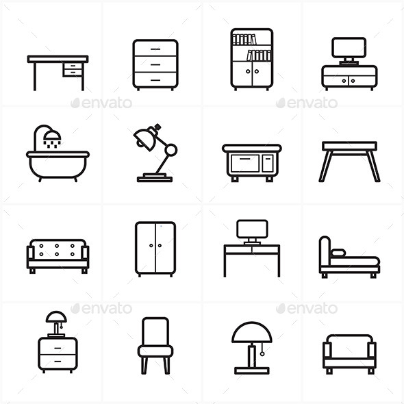 Flat Line Icons For Furniture Icons Vector Illustration - Objects Icons