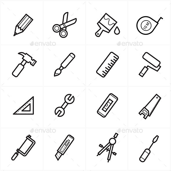 Flat Line Icons For Tools Related Icons Vector Ill - Objects Icons