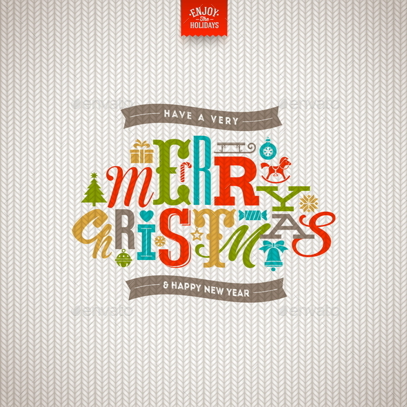 Christmas Type Design on a Knitted Background - Christmas Seasons/Holidays