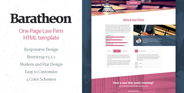 Baratheon – One Page Law Firm HTML Template