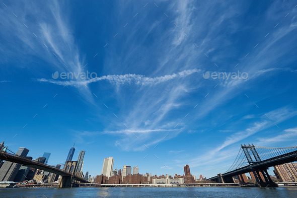 Manhattan skyline view from Brooklyn - Stock Photo - Images