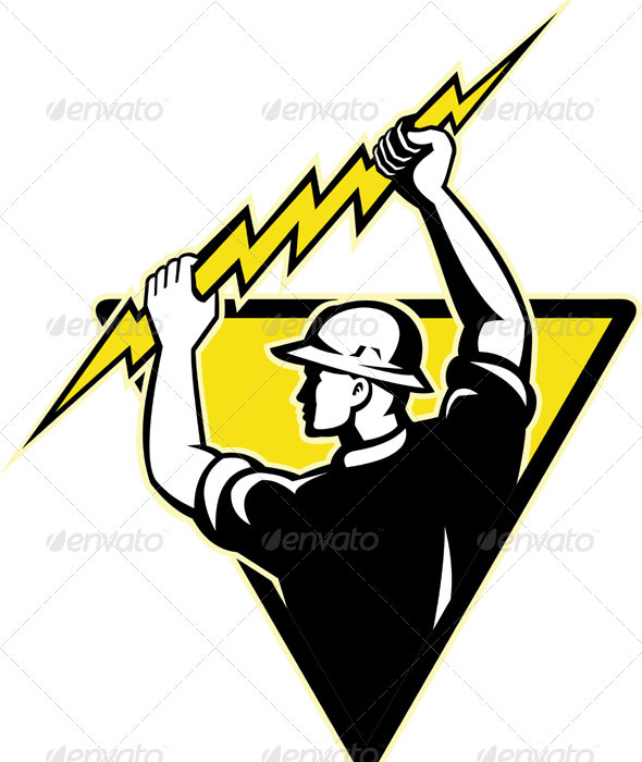Electrician Power Lineman Holding Lighting Bolt - Industries Business