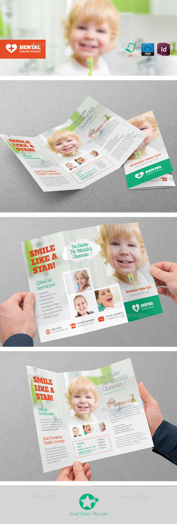 Kids Dental Tri-Fold Templates - Brochures Print Templates