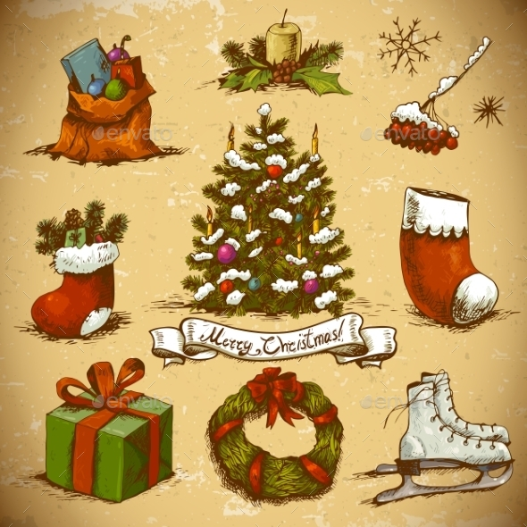 Set of  New Year and Christmas Design Elements - Patterns Decorative