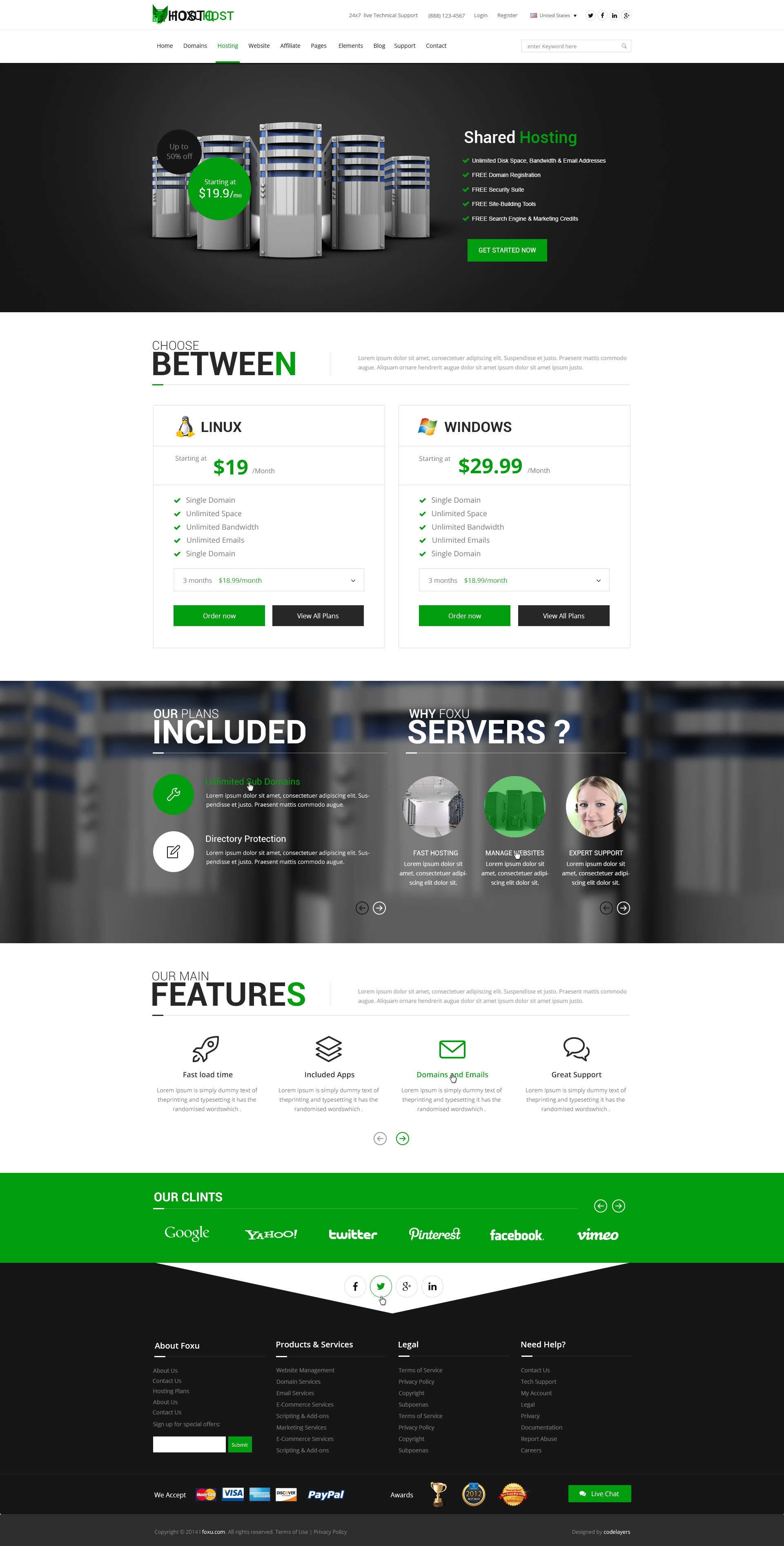 Foxuhost - Hosting / Business Template by codelayers | ThemeForest