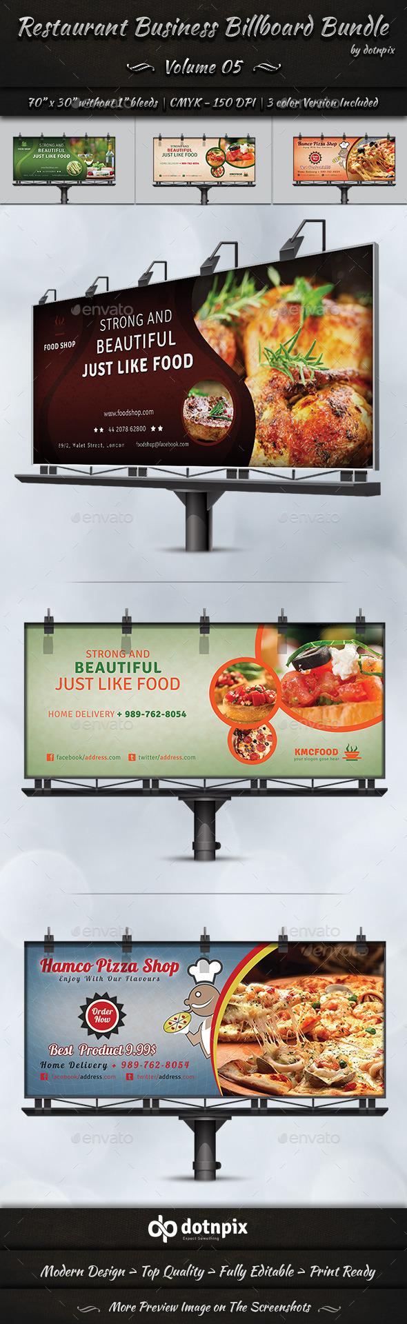Restaurant Business Billboard Bundle   Volume 5 - Signage Print Templates