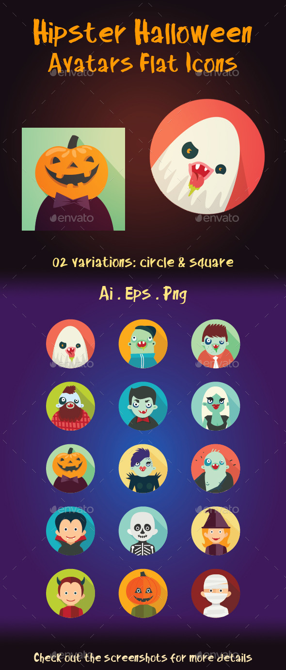 Hipster Halloween Avatar Flat Icons - Seasonal Icons