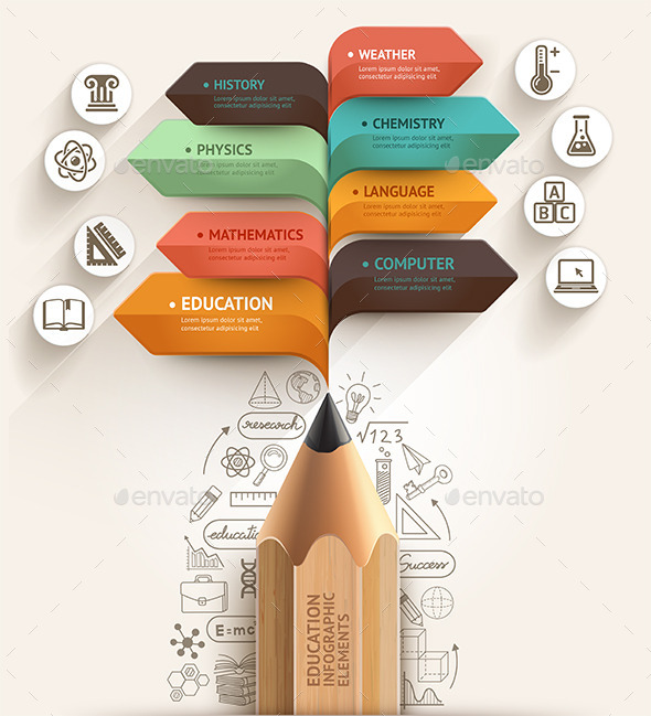 Education Pencil Arrow Infographics Template by graphixmania ...