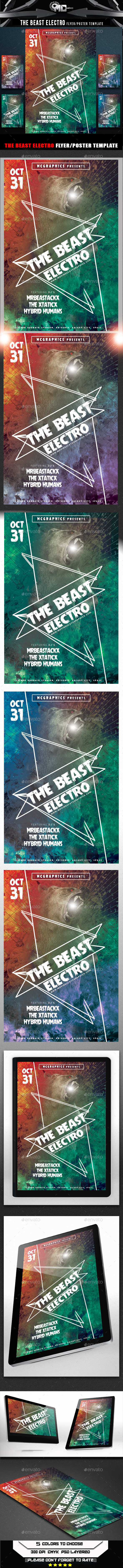 The Beast Electro Flyer Template - Clubs & Parties Events