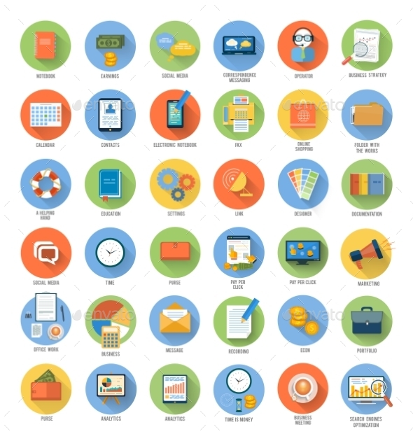 Set for Business and Office Applications Icons - Concepts Business
