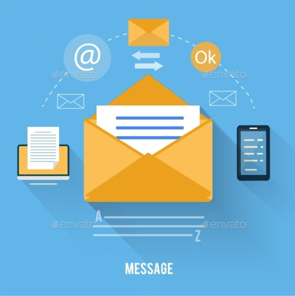 Envelope with Message and Email Technology - Web Technology