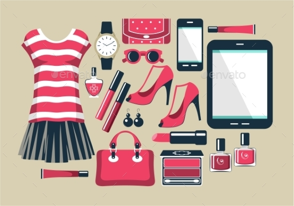 Fashion Set in a Style Flat Design - Retail Commercial / Shopping
