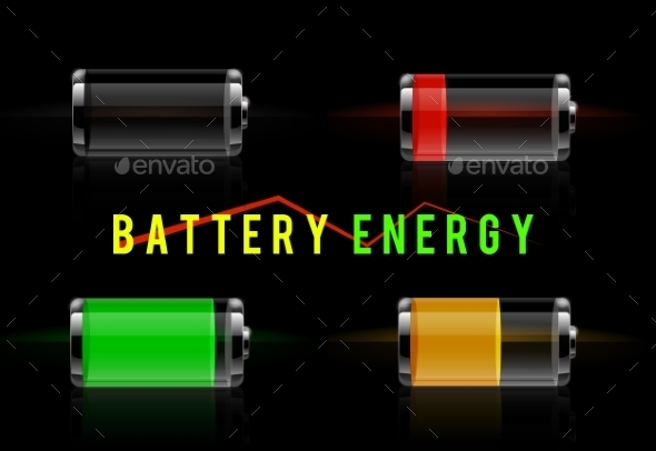 Glossy Transparent Battery Level Indicator - Technology Conceptual