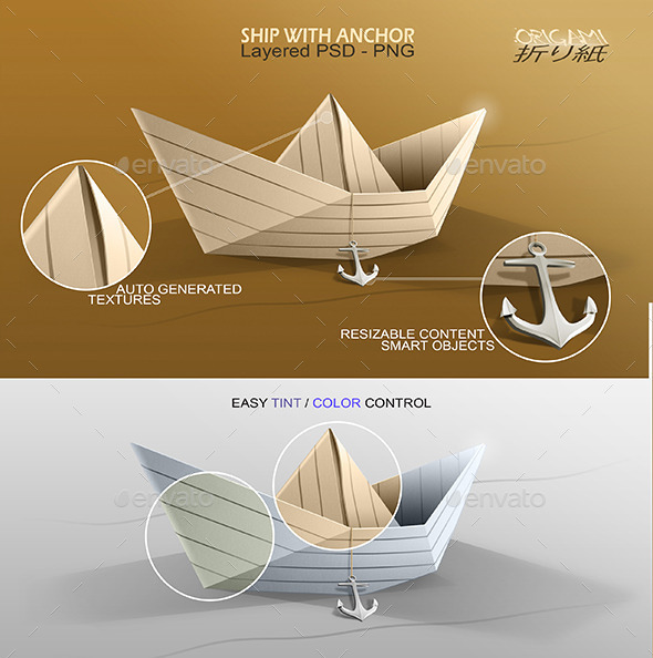 Origami Ship with Anchor - Objects Illustrations