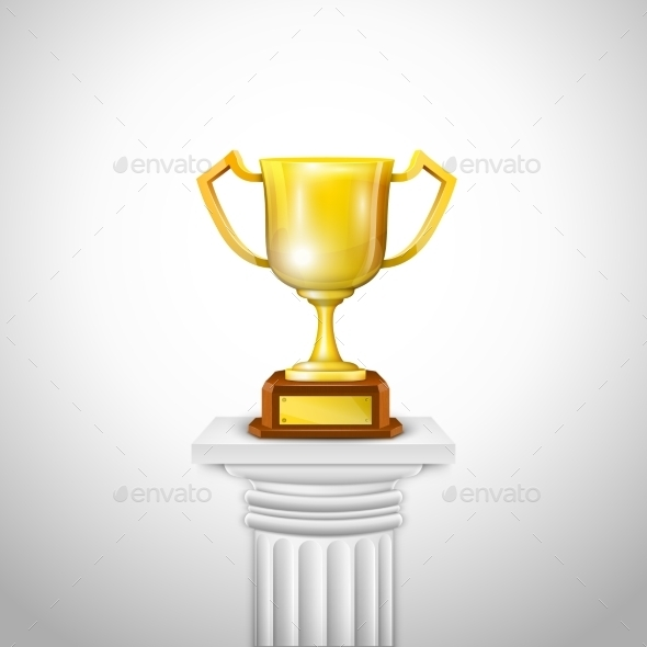 Ionic Column With Trophy Cup. - Sports/Activity Conceptual