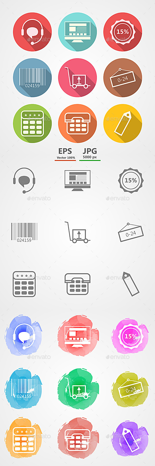 Vector Icons for Internet Retail Service - Retail Commercial / Shopping
