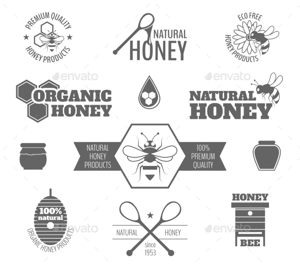 Bee Honey Label Black - Food Objects