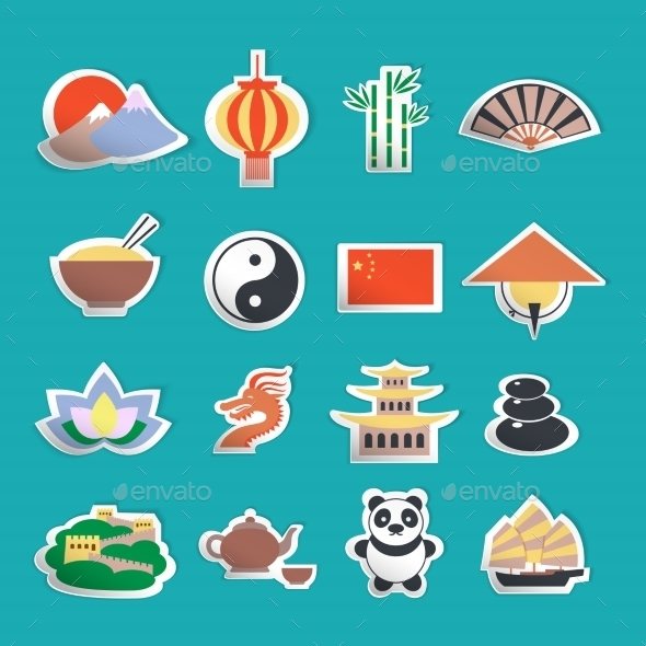 China Icons Stickers - Travel Conceptual