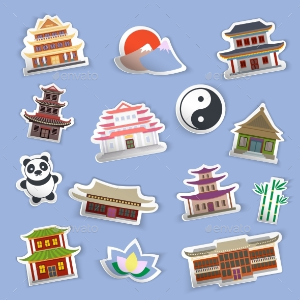 Chinese House Stickers - Travel Conceptual