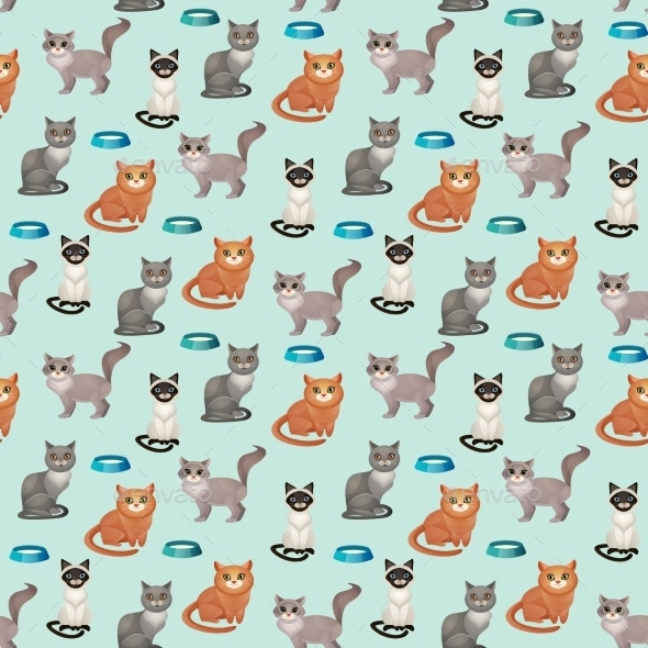 Cats Seamless Pattern - Backgrounds Decorative