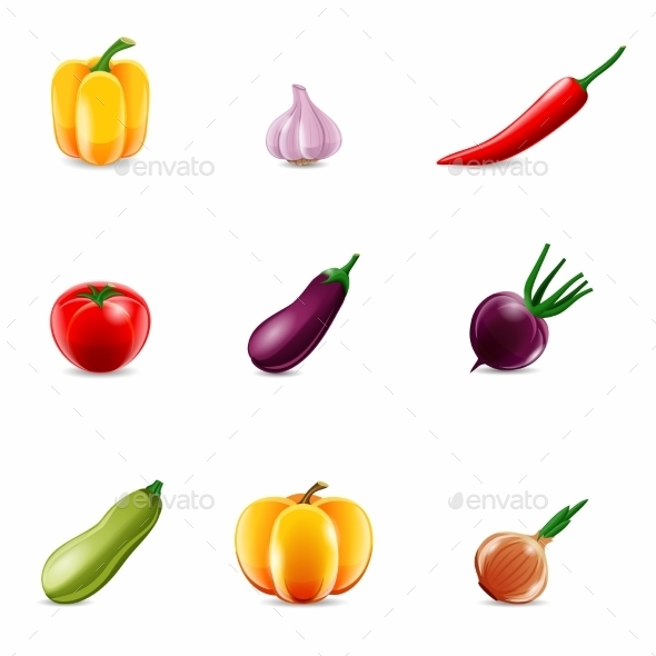 Vegetables Realistic Icons - Food Objects