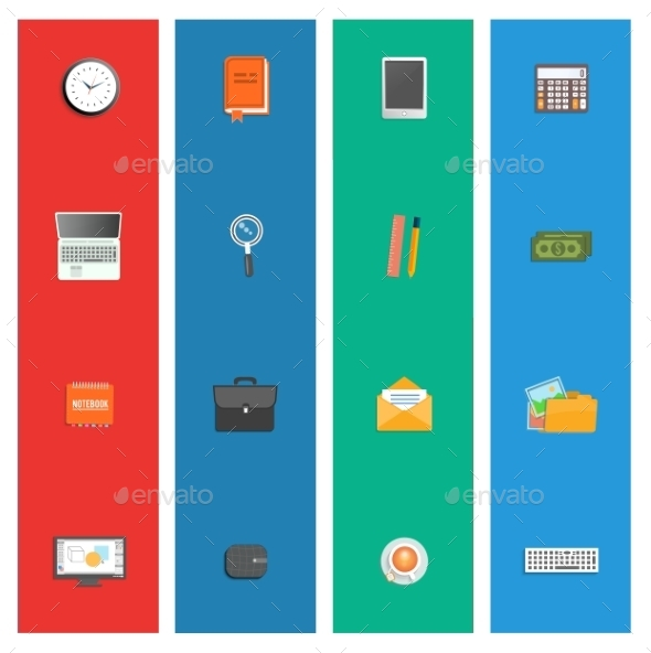 Set of Various Office Service Icons - Concepts Business