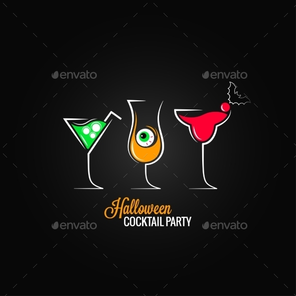 Halloween Party Cocktails Menu Design Background - Halloween Seasons/Holidays
