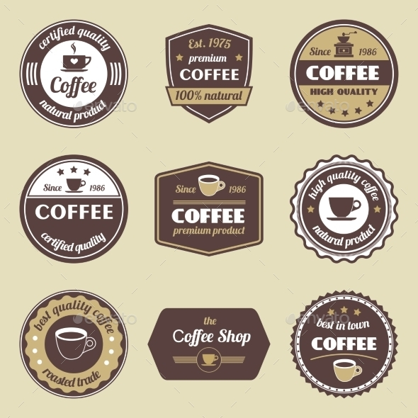 Coffee Label Set - Food Objects