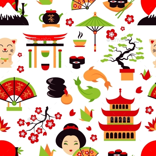 Japan Seamless Pattern - Backgrounds Decorative