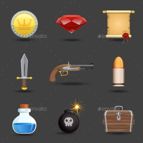 Game Resources Icons  - Web Elements Vectors