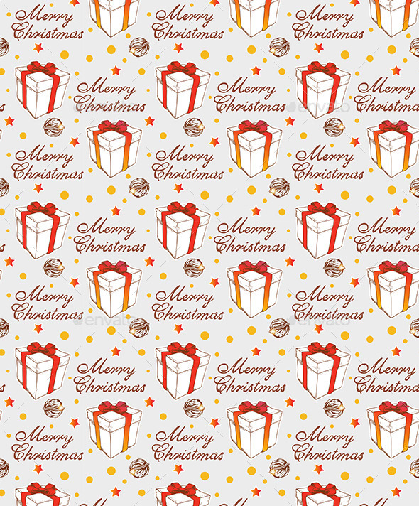 Christmas Seamless Pattern with Gift - Patterns Decorative