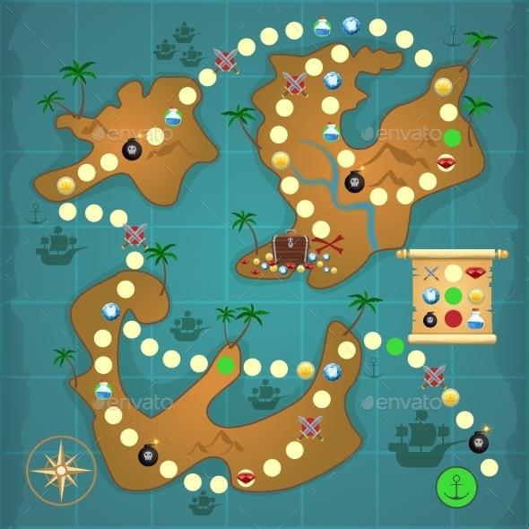Pirates Treasure Island Game - Travel Conceptual