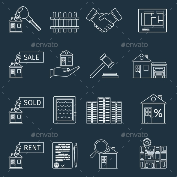 Real Estate Outline Icons - Buildings Objects