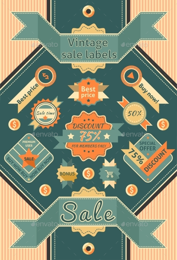 Vintage Sale Labels - Retail Commercial / Shopping