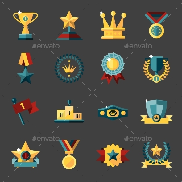 Award Icons Set - Web Elements Vectors