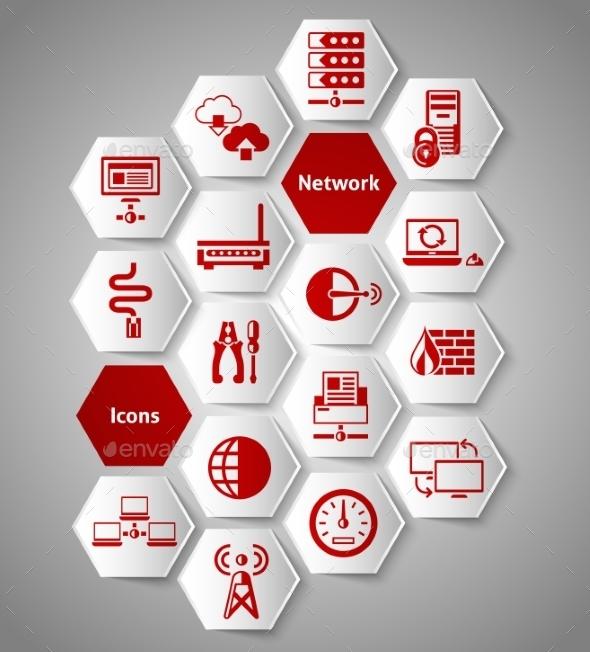 Network Stickers Set - Communications Technology