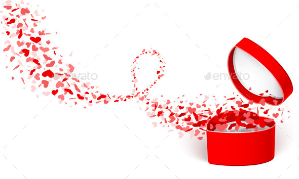 Gift Box with Hearts - Valentines Seasons/Holidays