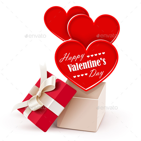 Gift Box with Big Hearts - Valentines Seasons/Holidays