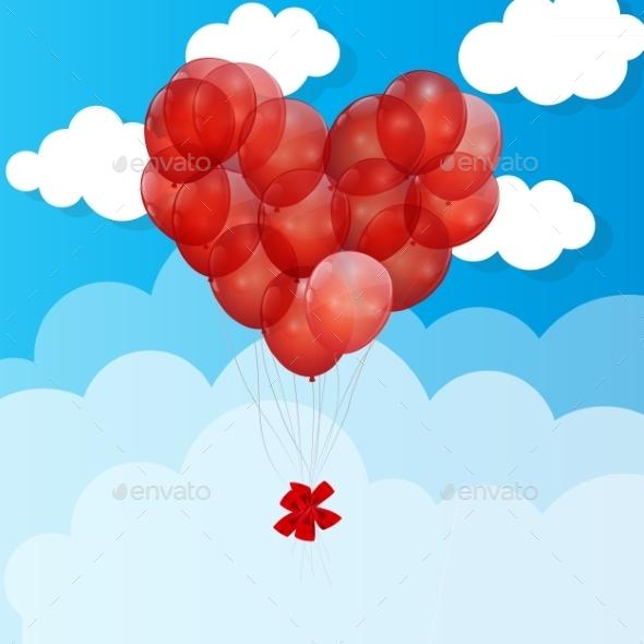 Balloon  Heart Vector Illustration Background - Birthdays Seasons/Holidays