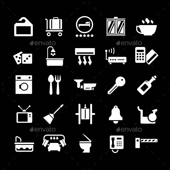 Set Icons of Hotel, Hostel and Rent Apartments - Man-made objects Objects