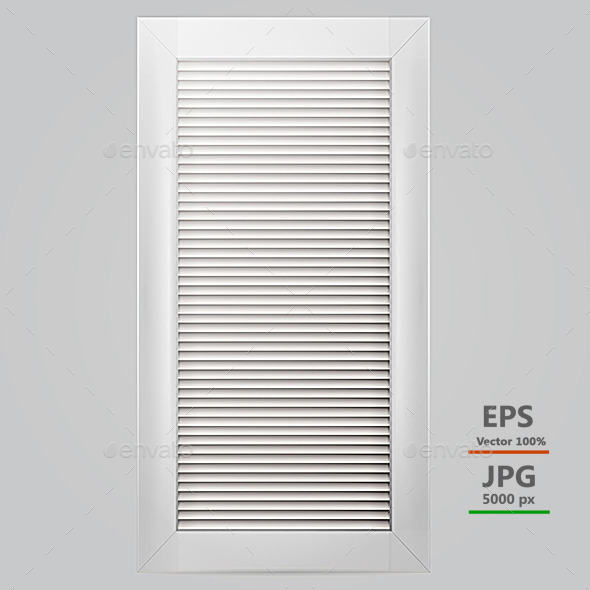 Vector Illustration of White Window Shutter - Objects Vectors